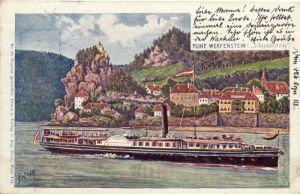 """Struden mit Burg Werfenstaein - Talfahrt kurz vor dem """"Hausstein"""""""